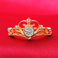 1 Carat SONA Synthetic Diamond Fashion Ring 925 Sterling Silver Jewelry 18K Gold Plated Queen Crown