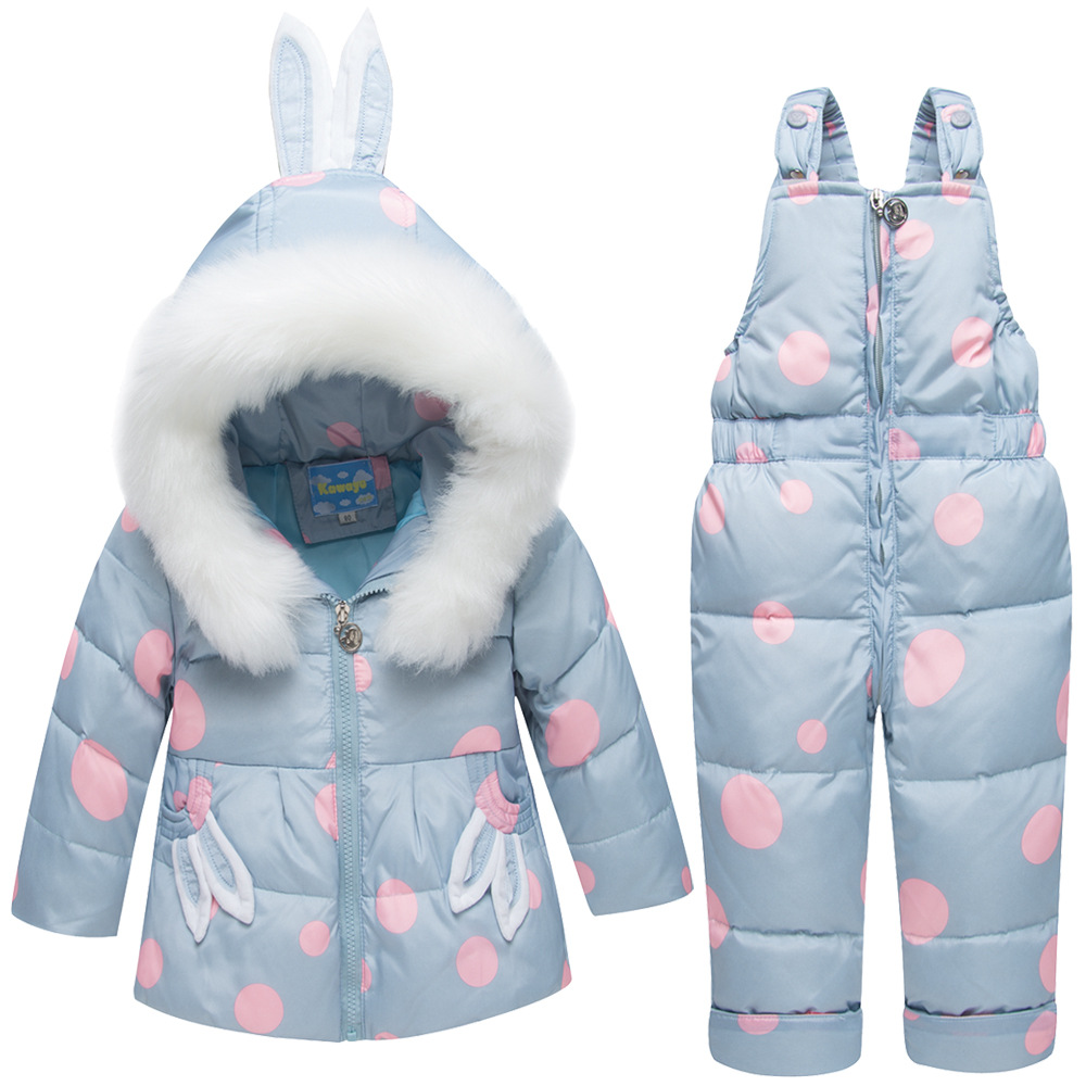 2018 new Kids Baby girl rabbit ear fur hooded coat ski Snow suit Jacket+ bib pants overalls dotted down clothes for baby girl denon dnp 730ae black