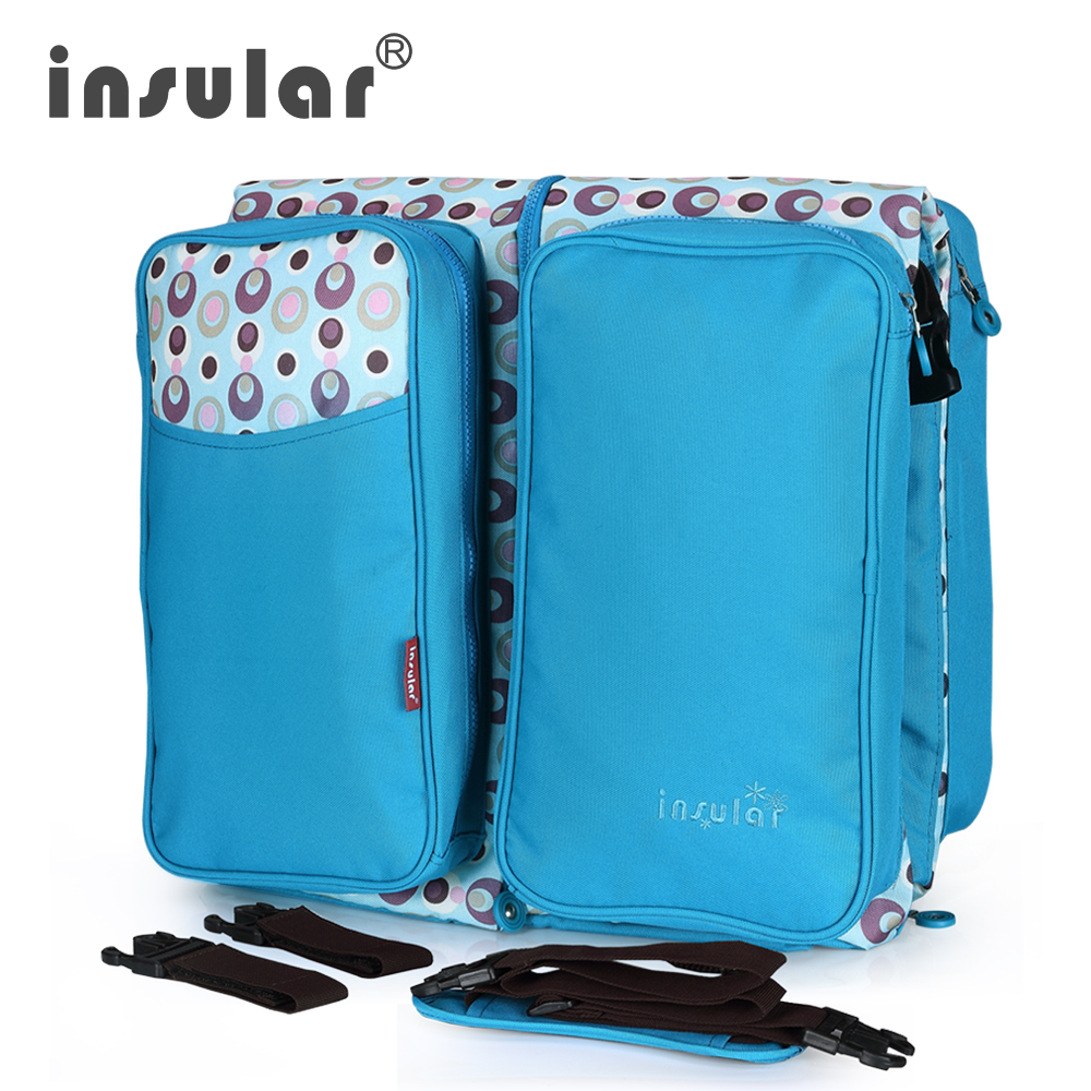 INSULAR 2 en 1 bébé voyage lits sac à couches Messenger multi-fonction grande capacité avec moustiquaire/poussette sangle/sac de rangement