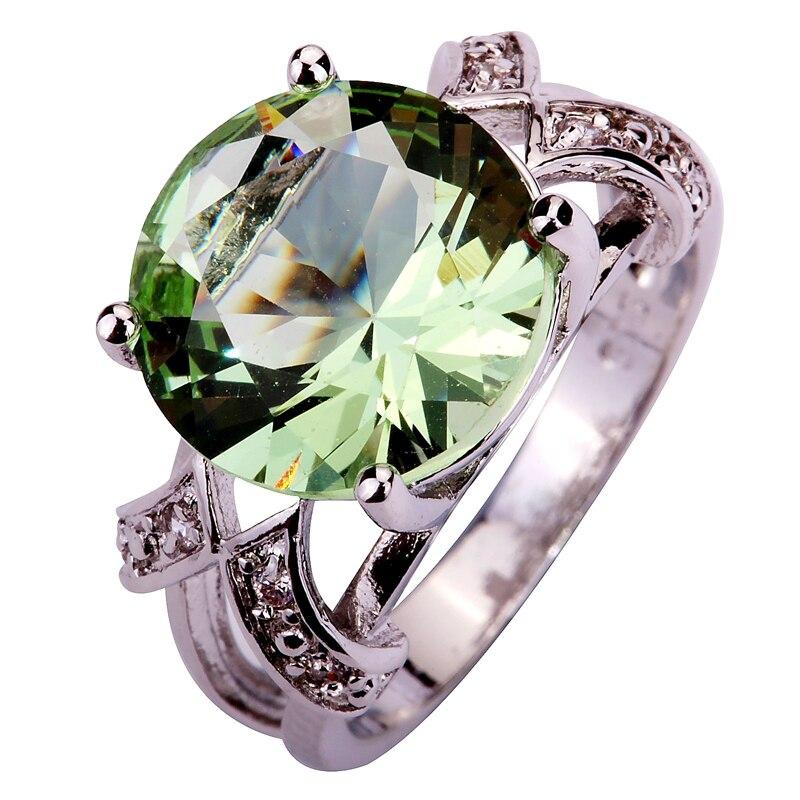 Brilliant Green Amethyst 925 Silver Ring Round Cut - Size O (7) KdYHDW7xf