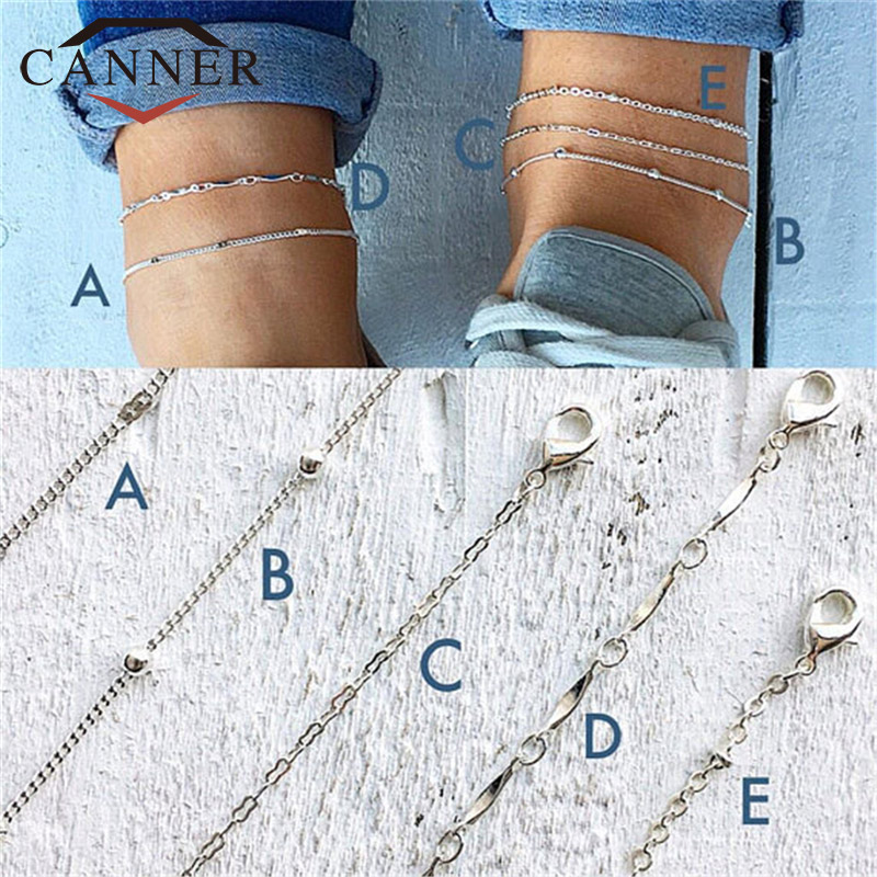 CANNER 5 Pcs/set Multilayer Beads Chain Anklets Bracelet Trendy Foot Jewelry for Women TW