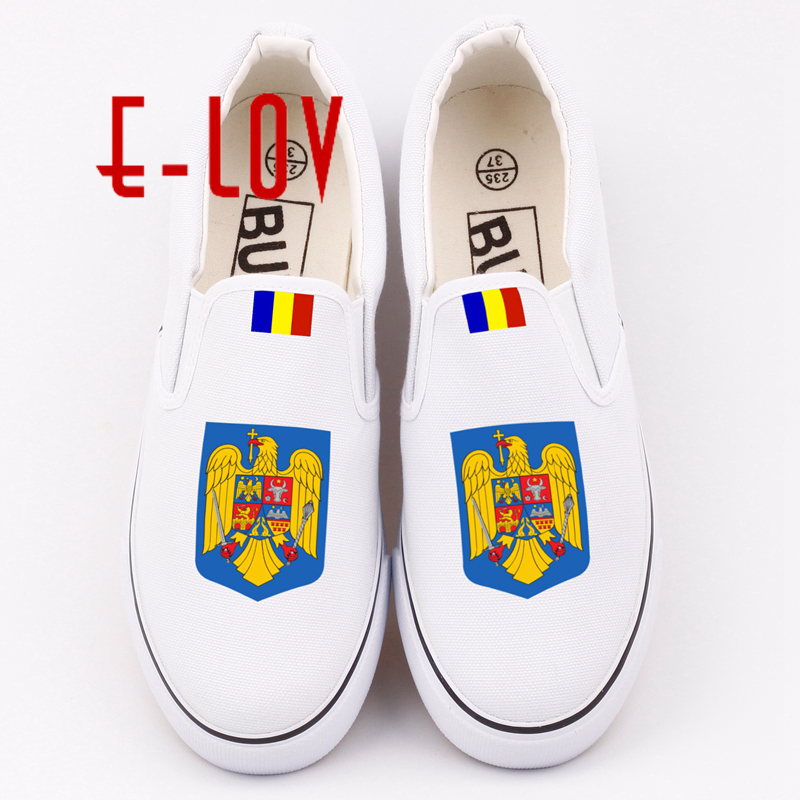 E-LOV Hand Printing Romania Country Flag Canvas Shoes Printed Romanians National Emblem Casual Loafers For Sale e lov women casual walking shoes graffiti aries horoscope canvas shoe low top flat oxford shoes for couples lovers