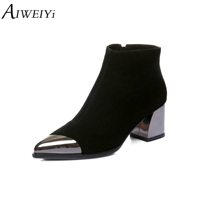 AIWEIYi Women Winter Shoes Genuine Leather Metal Toe Boots Brand Women Shoes High Quality Pointed toe Black Ankle BootsAIWEIYi Women Winter Shoes Genuine Leather Metal Toe Boots Brand Women Shoes High Quality Pointed toe Black Ankle Boots