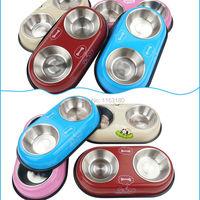 100 Pieces Lot Pet Dog Cat Puppy Stainless Steel Travel Feeder Water Dish Bowls Pet Accessories