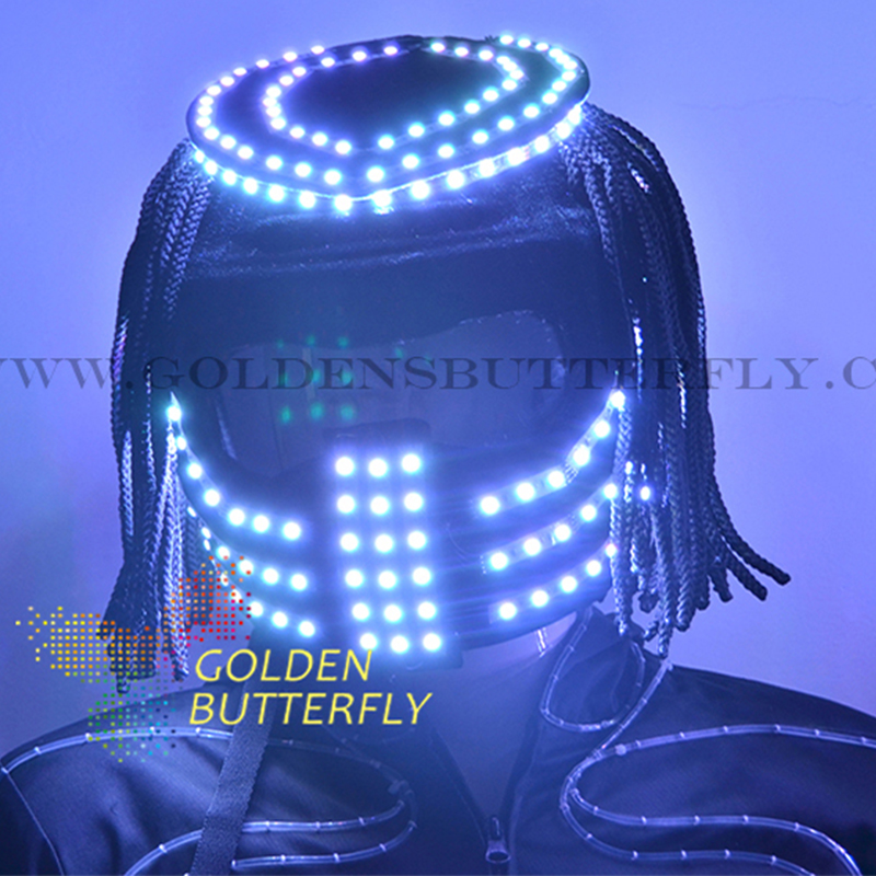 LED Helmet Colorful Color Bright Light Alien Helmet With Battery 2017 LED Glowing Party DJ Robot Mask Business Accessories