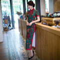 Free Shipping Top Quality Long Qipao Chinese Traditional Cothing Cheong-sam Dress Vintage Long Qipao For Women