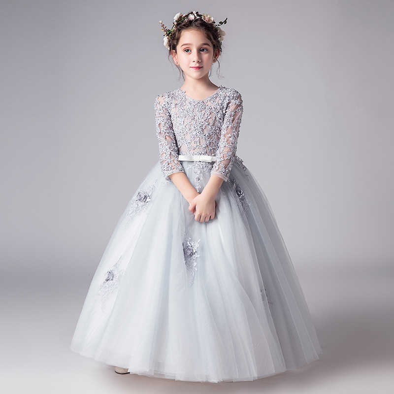 New Children's Seven-Sleeve Embroidery Wedding Party   Dress     Girl's   Piano Performance   Dress     Flower   Children's Birthday Party   Dress