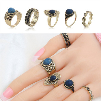 5 Pcs/set Bohemian Retro Crystal Flower Leaves Hollow Lotus Gem Silver Ring Set Women Wedding Anniversary Gift image
