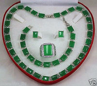 Beautiful green lab fine stone necklace bracelet earring ring Jewellery set size 8 11