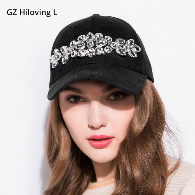 b061d8de45e6f GZHilovingL Fashion Womens Spring Big Diamond Baseball Cap Women Casual  Plain Color Suede Snapback Cap Hats Hiphop Caps