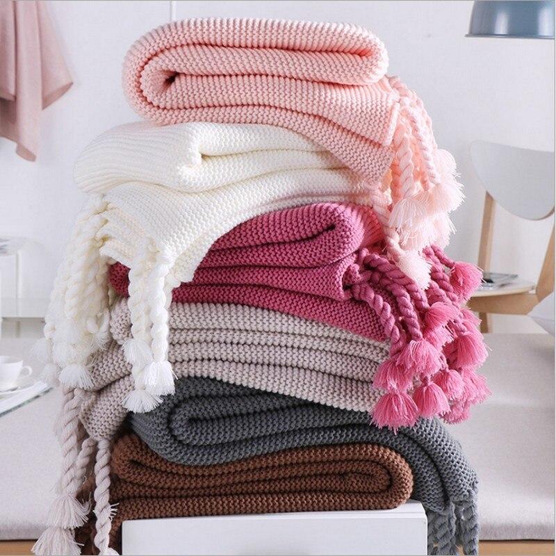 Qualité coton Pom Crochet fil été couvertures 130*170 cm bébés adultes Kitted couverture pour lits canapé couverture couverture voiture blanke