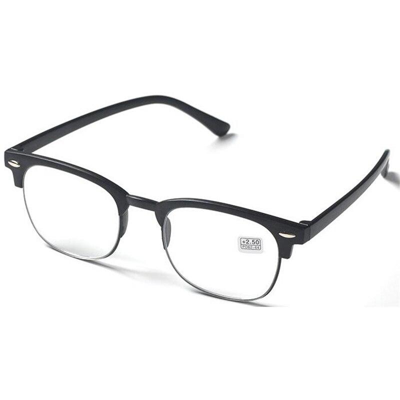 Ультра-легкие TR90 очки для чтения унисекс с плоскими стеклами и половинной рамкой лупа очки коричневый/черная оправа+ 1,0+ 1,5+ 2,0+ 2,5+ 3,0+ 3,5+ 4,0