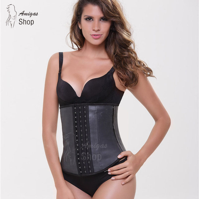 2016 Fashion Women 4 Steel Bone Waist Trained Corset 100% Latex Cincher Plus Size Sexy Slimming Shapewear Rubber Waist Trainer
