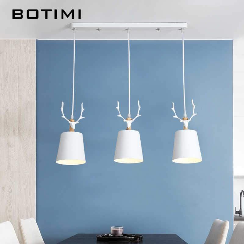 Botimi современные светодиодный подвесной светильник для столовой белый подвесной светильник E27 металлическая подвеска освещение черный подвесной светильник кухонная люминария
