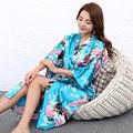 H1686  Silk Bathrobe Women Satin Kimono Robes For Women Floral Robes Bridesmaids Long Kimono Robe Bride Silk Robe Dressing Gown