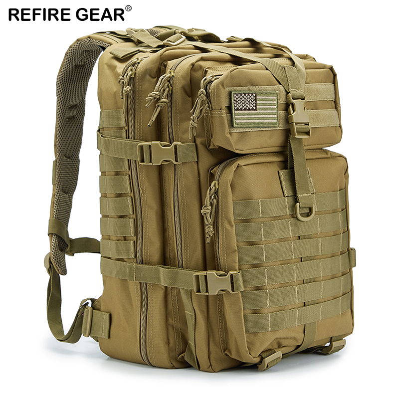 Camping & Hiking Refire Gear Outdoor Tactical Pack Backpack Large-capacity Army Waterproof Bag Hike Camping Hunting Fishing Bag 42cm*32cm*29cm Sports & Entertainment