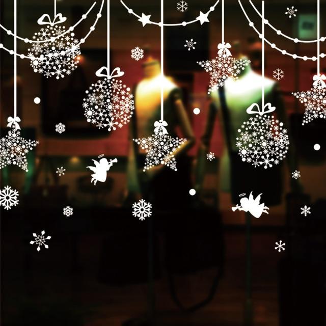 shijuehezi hang adorn glass sticker pvc material diy christmas wall decals for living room