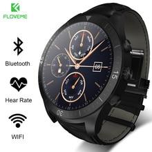 Floveme smart watch android 4.3 ios 8.0 y superior lcd 400*400 de la correa de cuero podómetro pulsómetro bluetooth smartwatch