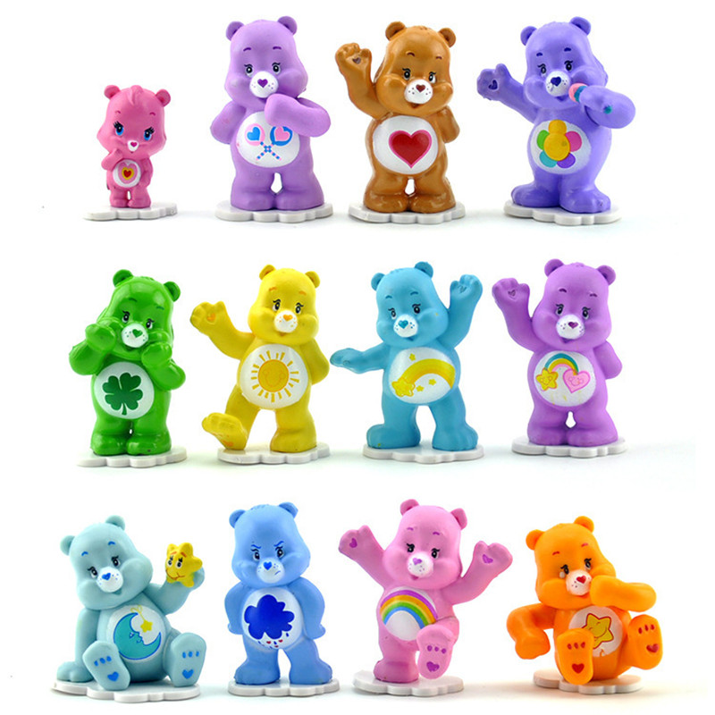 12 Pcs/lot Anime Care Bears  4-5cm Mini PVC Action Figures Toys Collectible Colorful Bears Model Dolls For Kids Kawaii Toy Gift