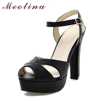 Big Size 40 43 Elegant Women Sandals Peep Toe Ankle Strap Casual Platform Thick High Heels