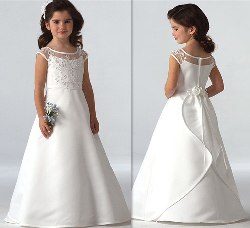 White Ivory Luxury Formal Flower Girls Wedding Dresses with Sash 2018 Custom Girls Pageant First Communion Evening Party Dress white ivory girls first communion dresses ball gown lace with sash long junior flower girl dress for wedding custom any size