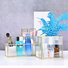 Classic Glass Makeup Organizer With Golden Covered Edge Bath