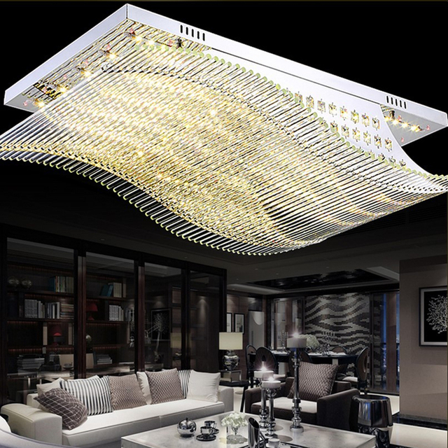 NEW Remote Control LED K9 Crystal Ceiling Lights Smooth Sailing Lamps High Power