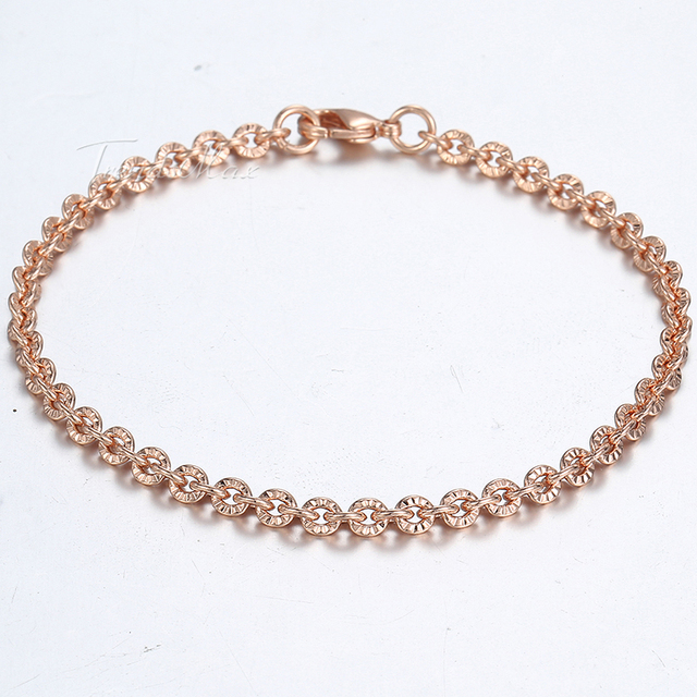 585 Yellow Rose Gold Filled Womens Bracelet Chain Cut Rolo Round Link 3mm 18cm 20cm 23cm