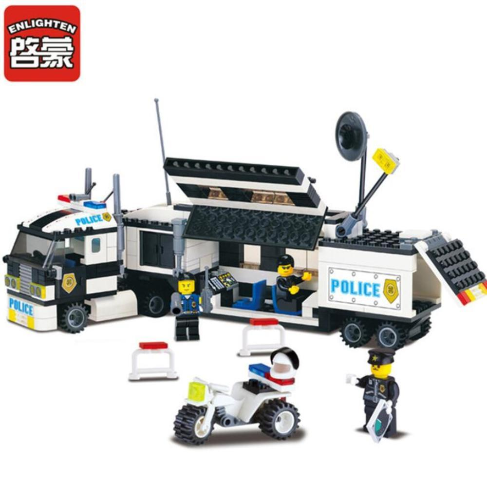 ENLIGHTEN 325Pcs Police Series Truck Building Blocks Sets Playmobil Educational DIY Bricks Kids Toys For Children Gift