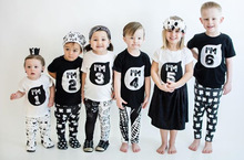 1-6 Years Number Pattern Child Sister Brother Summer Black White Top T-shirt Clothing Kids Baby Girls Boys T Shirt Tee Clothes