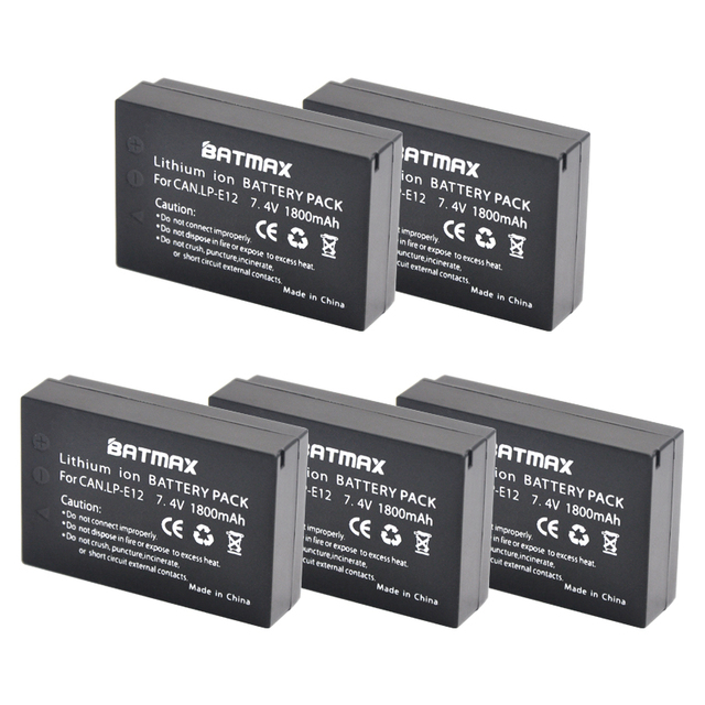 1800mAh LP-E12 LPE12 E12 Rechargeable Digital Camera Battery for Canon EOS EOS M M2 M100 M10 Rebel SL1 100D Kiss X7