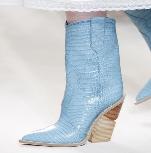 Blue yellow snake skin Women Boots 2018 Pointed Toe Western Boots Cowboy Boots runway design Chunky Wedges heel Mid-calf Boots blue yellow snake skin women boots 2018 pointed toe western boots cowboy boots runway design chunky wedges heel mid calf boots