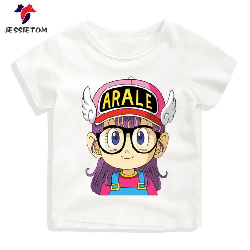 Boy and Girl Anime Arale Tshirt Kid Summer Soft Kawaii Manga Dragon Ball Z Goku Top Tee Children Funny Clothes Baby Camisetas