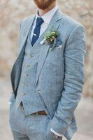 2017 Latest Coat Pant Designs Light Blue Linen Wedding Suits for Men Formal Beach Groom Custom Men Tuxedo 3 Pieces Terno 31