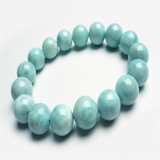 13mm Genuine Natural Pedra Azul Branco Rodada Jóia Beads Estiramento Pulseira Mulheres Femme Larimar Pulseira Charme Frete Grátis