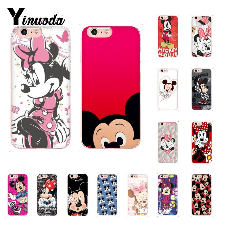 Yinuoda <font><b>Mickey</b></font> and Minnie Kiss <font><b>Coque</b></font> Shell Phone Case for <font><b>iPhone</b></font> 8 7 <font><b>6</b></font> 6S Plus X XS MAX 5 5S SE XR Cover image