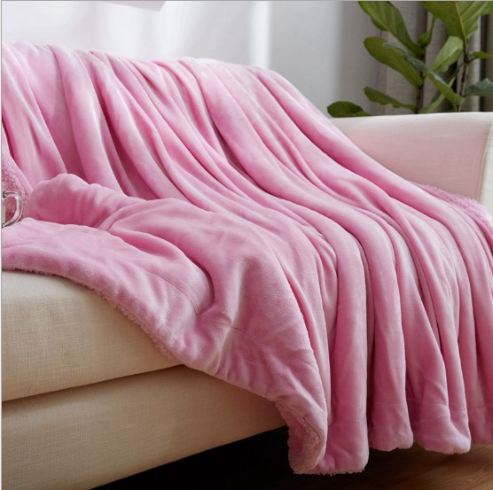 Image 5 - CAMMITEVER Home Textile Flannel Lamb Cashmere Double Thick Blanket With Sleeve On The Bed Solid Fluffy Linen Bedspread-in Blankets from Home & Garden