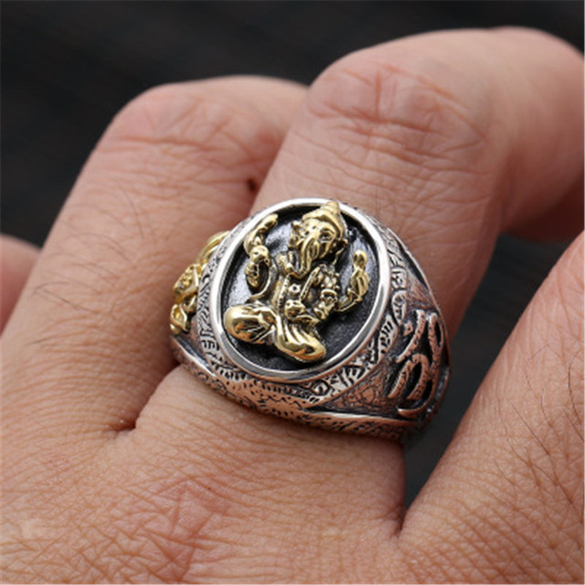 BESTLYBUY Sterling Silver Jewelry To Restore Ancient Ways Thai Silver Lotus Elephant Trunk Wide Version Of God Gentleman Persona