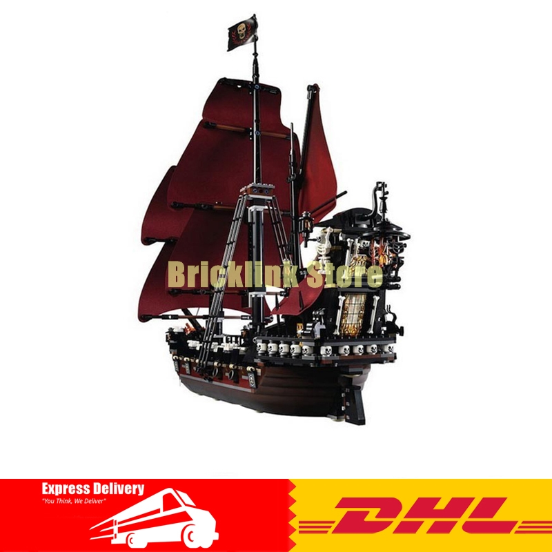 DHL 2018 LEPIN 16009 1151Pcs Pirates Of The Caribbean Queen Anne's Reveage Model Building Kit Blocks Brick Toy Compatible 4195 lepin 16009 the queen anne s revenge pirates of the caribbean building blocks set compatible with legoing 4195 for chidren gift