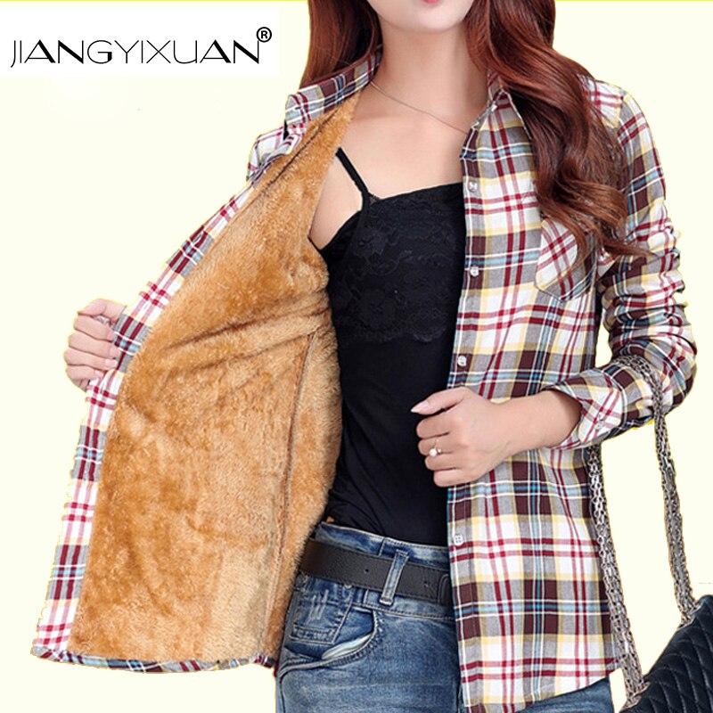 JIANGYYIXUAN velvet hick Warm women's plaid   shirt   Cotton   blouse     shirt   feminina female camisas feminine Blusa Ladies Casual