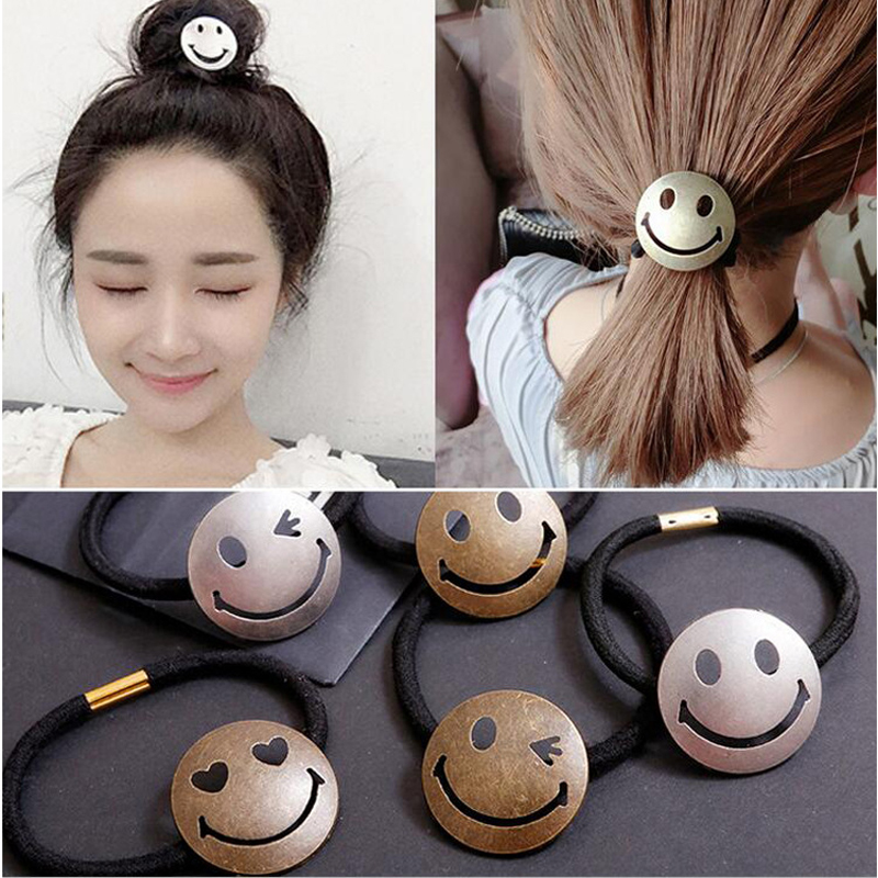 LNRRABC Fashion Women  Lovely Charming Smile Face Headwear Elastic Hair Bands Ponytail Emoji Hair Rope Hair Tie Hair Accessories