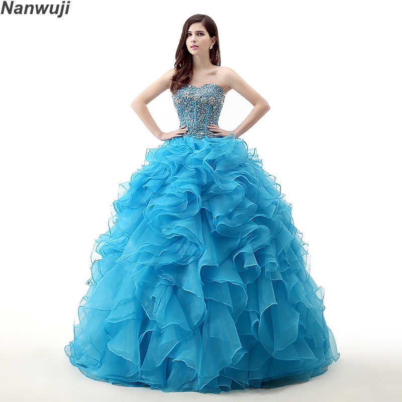 e6b15de4ed9b8 Detail Feedback Questions about 2018 Puffy Quinceanera Dresses Blue ...