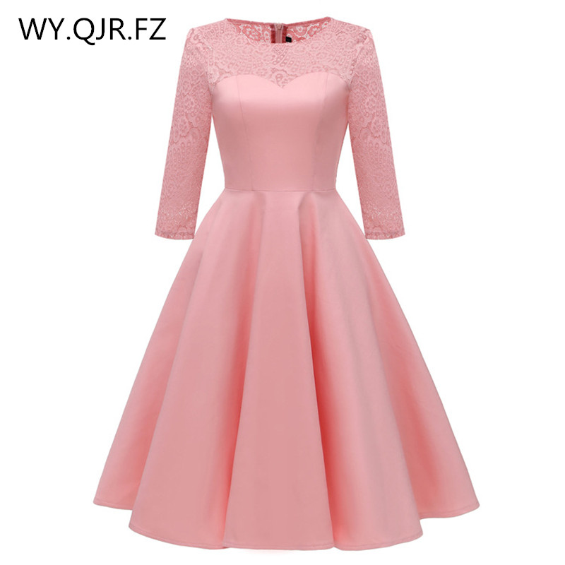 PTH8011F#satin-like cotton fabric + Lace Pink red short   Bridesmaid     Dresses   Bride Wedding Toast party   dress   gown prom wholesale