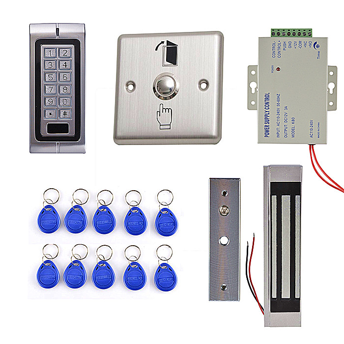 DIY 125KHz RFID Waterproof IP68 Metal Password Keypad Door Access Control System Kit + 300LBS Waterproof Magnetic Lock