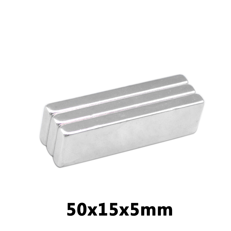 2pc <font><b>50*15*5</b></font> Big Super Strong Strip Block Rare Earth Neodymium 50 x 15 x 5 mm magnets image