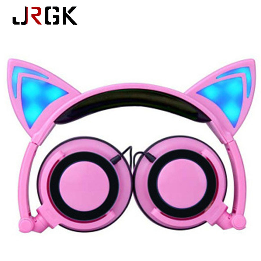 Foldable Cat Ear headphones Gaming Headset Earphone With Glowing LED Light For Computer PC Laptop Smartphone Gift For Girls Kids magift sound effect gaming headset stereo headphones with mic for computer pc laptop gamer with led light over ear glowing