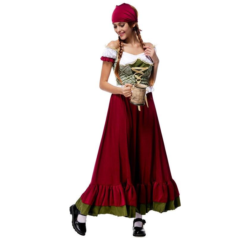 5bf30223704229 € 23.02 15% de réduction|Bavarois traditionnel Costume National dame  Oktoberfest bière femme de chambre Costume longue jupe avec casque  halloween ...