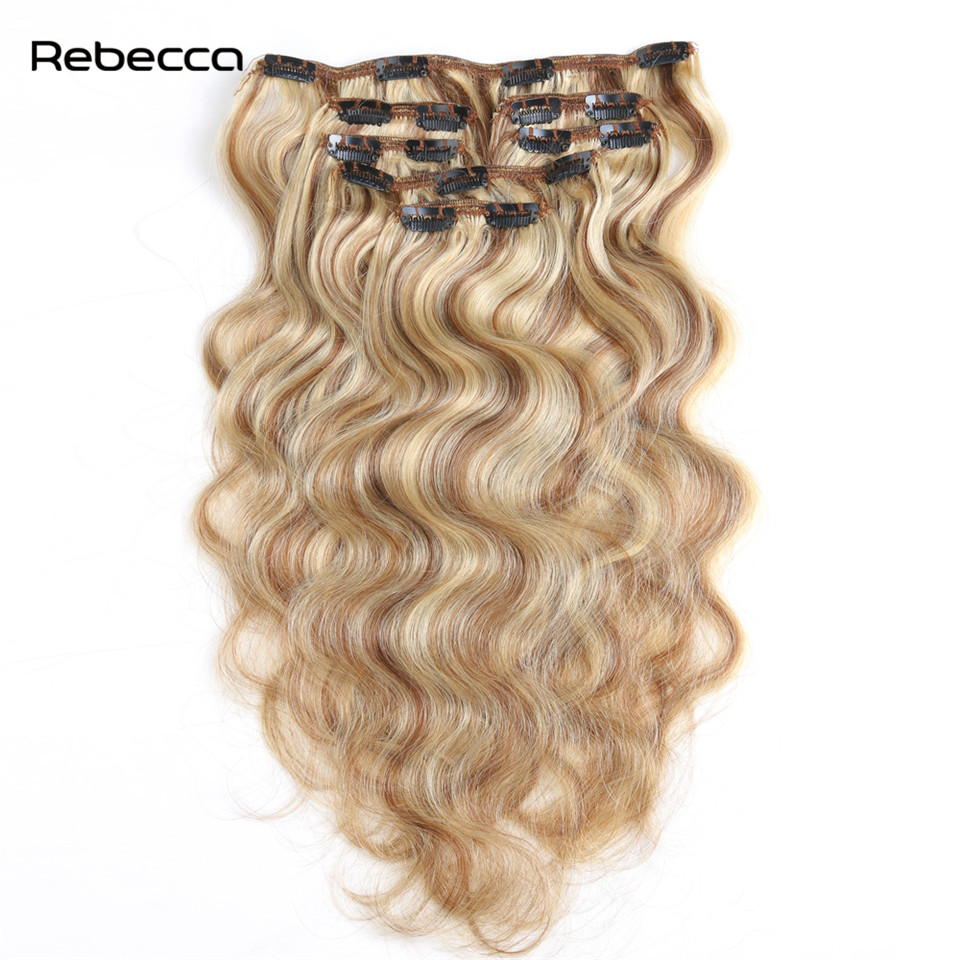 Brazilian Non Remy Hair Body Wave Clip In Human Hair Extensions Rebecca Hair Products 7pcs set