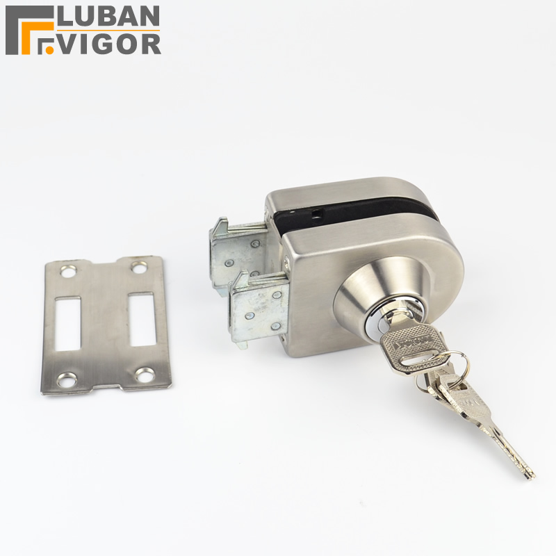 Glass Door Lock, stainless steel,No need to Drilling on glass,lock inside and outside,single door,Frameless glass door thick reinforced glass door lock all sus304 stainless steel no need to open holes frameless glass door cp408