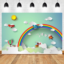 Neoback Baby Newborn Blue Sky White Clouds Photography Backdrops Studio Shoots Rainbown Vintage Aircraft toy Photo Background